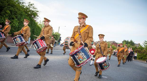 Orangemen retrace the steps of the 36th Ulster Division during a commemorative parade in Newtownards