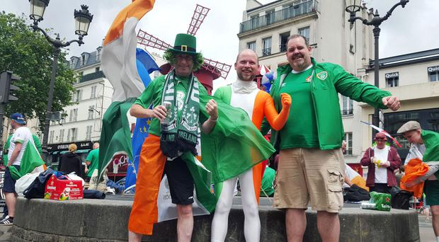(Left - right) Terry Farrelly, 41, Michael Downey, 26 and Keith Duggan, 42, at Montmartre in Paris, France, ahead of the Republic of Ireland's match against Sweden
