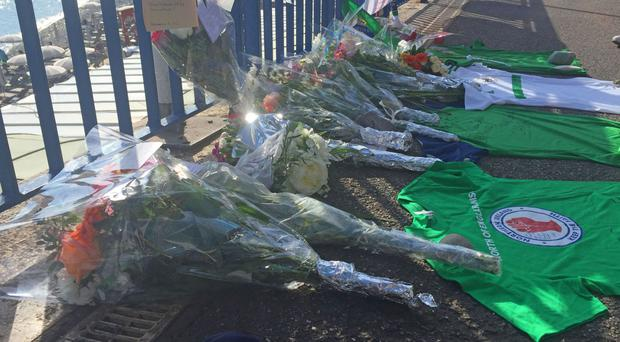 Flowers and a shirt lay close to the scene where Darren Rodgers, from Ballymena, died after a fall in Nice in France