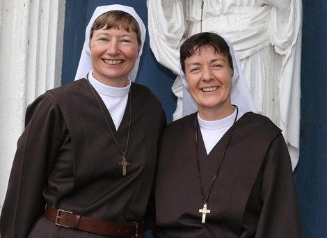 Martina Purdy (left) and Elaine Kelly yesterday at the Adoration Convent on the Falls Road, Belfast