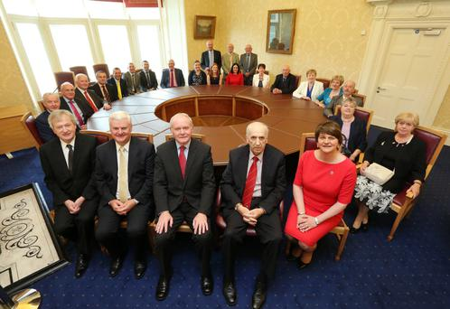Dr Danny Murphy, centre, at his reception in Stormont Castle