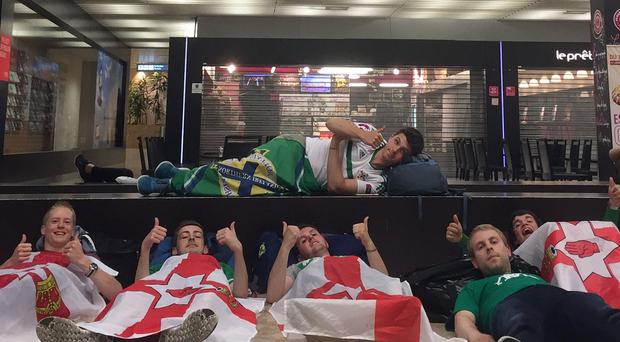 (left to right) Paul Leslie, Jonnie Gregg, Jamie Dill (top), Simon Sharkey, Steven Ringland and John Condy, who have made it to Lyon in time for the Northern Ireland game