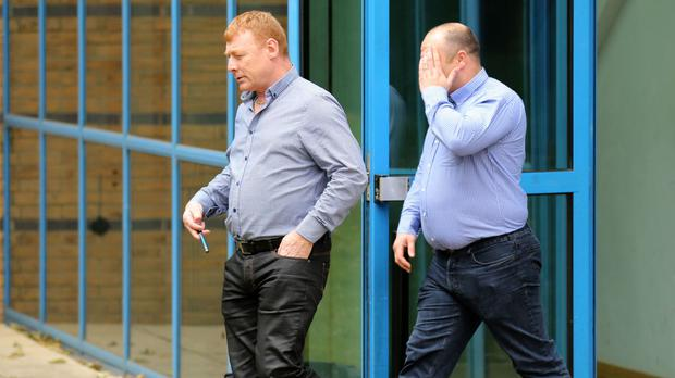 Martin McGlinchey (left) and Stephen McLaughlin leave Basildon Crown Court in Essex.