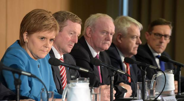 First Minister of Scotland Nicola Sturgeon, Taoiseach Enda Kenny, deputy First Minister of Northern Ireland Martin McGuinness, First Minister of Wales Carwyn Jones and Senator Ian Gorst, Chief Minister of the Government of Jersey