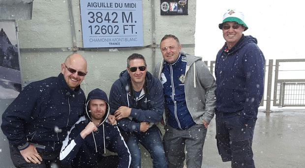 From left to right, Jonny Irwin, Gary Dempster, Kenny Armstrong, Gary McKeown and Nigel McKeown posing for a photo on Mont Blanc (Alex Garrett/PA)