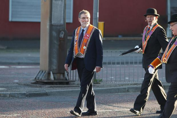DUP MLA Nelson McCausland takes part in the Tour of the North parade 2016. Picture Matt Bohill Pacemaker