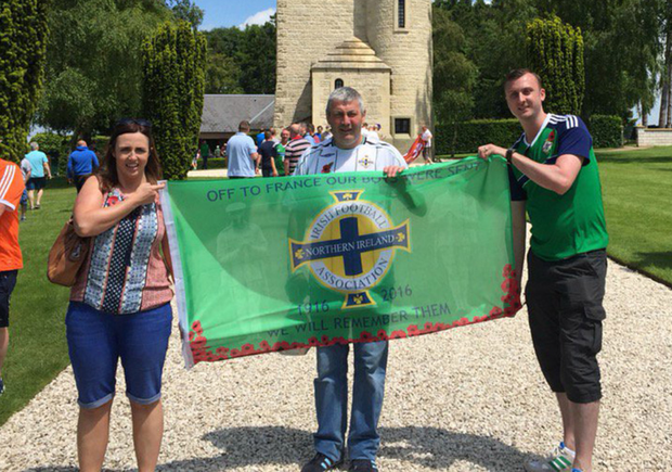 Northern Ireland fans pay their respects at the Ulster Tower, Thiepval