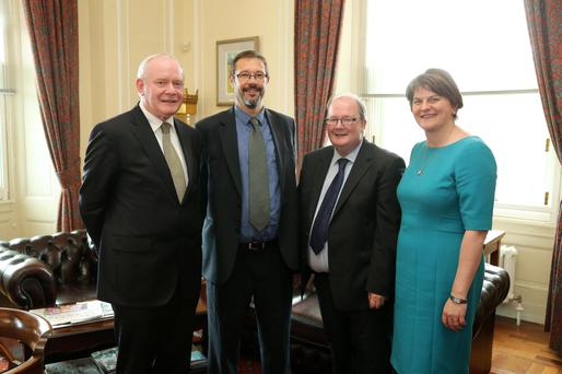 First Minister Arlene Foster and Deputy First Minister Martin McGuinness (left) with joint chairmen Neville Armstrong (second right) and Dr Dominic Bryans
