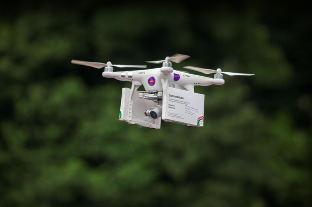 A drone with tablets at Narrow Water Castle, Warrenpoint, Co Down. Photo: Liam McBurney/PA Wire