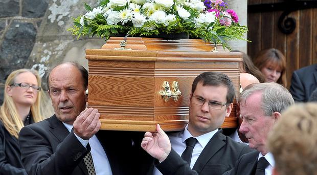 The funeral of Judge Corinne Philpott in Annahilt, Co Down, yesterday