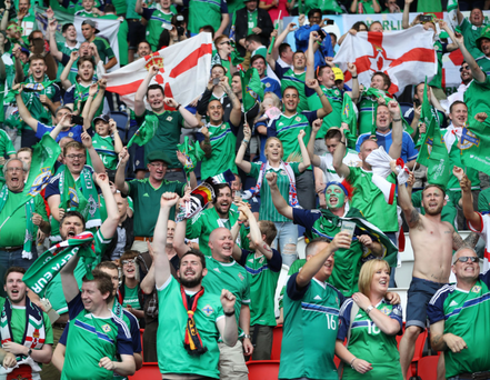 The Green and White Army lent vociferous backing to the Northern Ireland national team last night as they qualified for the last 16, albeit progressing after a 1-0 defeat to Germany