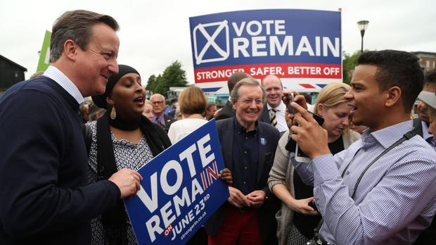 David Cameron on a walkabout after he addressed Vote Remain supporters during a rally in Bristol