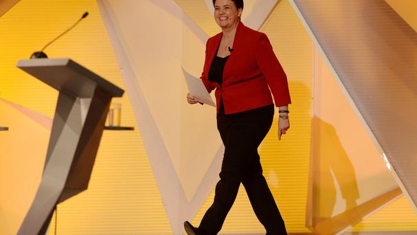 Scottish Conservative leader Ruth Davidson walks onto the stage to take part in The Great Debate on BBC One