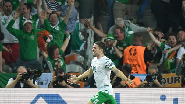 Ireland's Robbie Brady celebrates after scoring the decisive goal (AP)