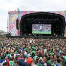 The fanzone at Titanic Quarter during the Northern Ireland v Germany game