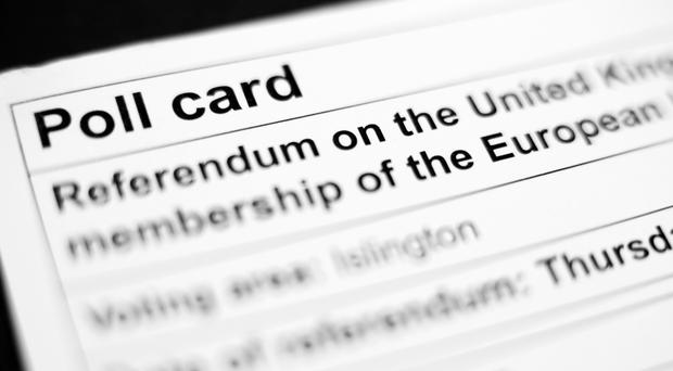 A polling card for the 2016 EU Referendum
