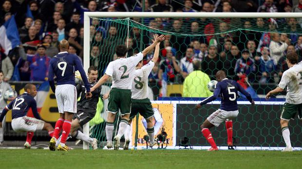 Many Irish fans are still annoyed with Thierry Henry (left, number 12) because of the handball incident in 2009
