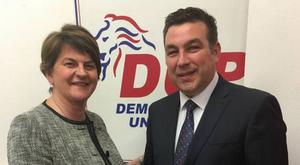 Alastair Patterson is welcomed to the DUP by party leader Arlene Foster