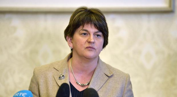 First Minster Arlene Foster during a press conference at Stormont (Press Eye/PA)
