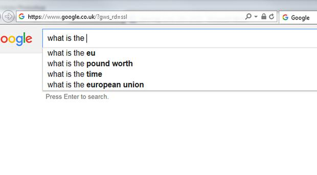 'What is the EU?' became the second top UK Google search on the issue hours after the UK voted to leave the European Union
