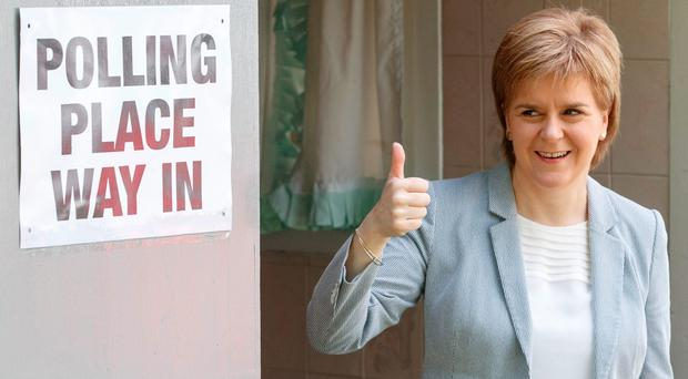 Scotland's First Minister Nicola Sturgeon after voting at Broomhouse Community Hall in east Glasgow