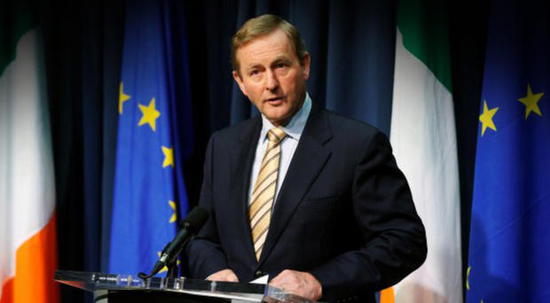 Taoiseach Enda Kenny speaks during a press conference in Dublin yesterday