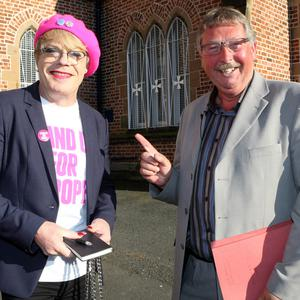 Comedian Eddie Izzard (left) and the DUP's Sammy Wilson debated the pros and cons of Brexit during a Belfast debate
