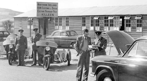 HM Customs conduct searches at the border between Killen and Carrickarnon in 1956