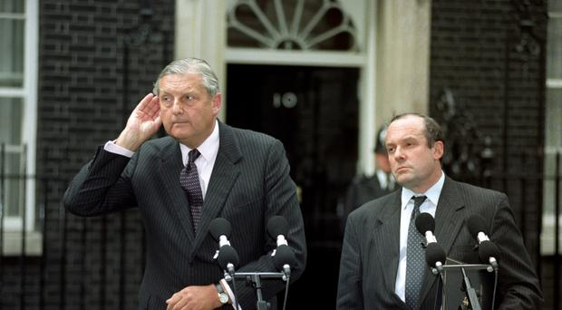 Lord Mayhew (left) in Downing Street after the IRA ceasefire announcement