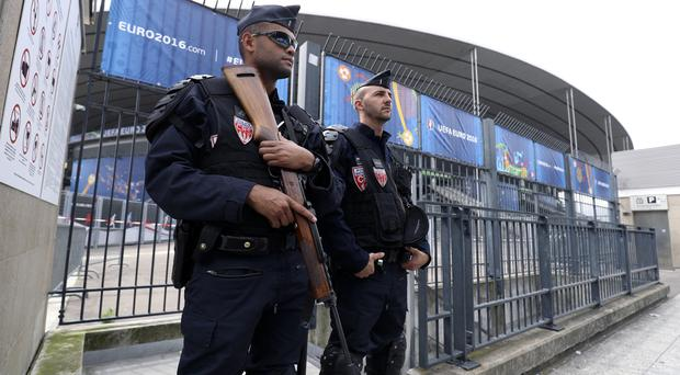 Armed police at a stadium in Paris