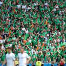 Republic of Ireland fans look dejected in the stands during the round of 16 match at the Stade de Lyon