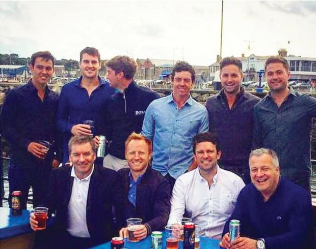 Golfer Rory McIroy and his friends enjoying a Dublin boat cruise