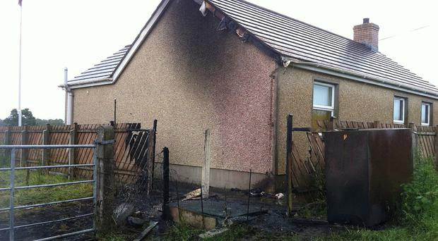 The damage caused after an oil tank was set on fire at Muckery Orange hall