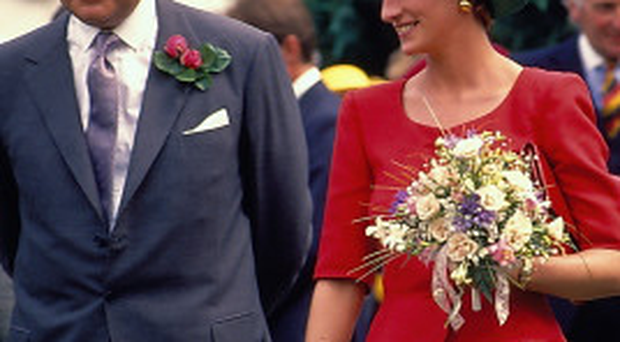 Sir Patrick Mayhew with the Princess of Wales during a garden party at Hillsborough Castle in 1992