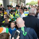 Robbie Keane addresses fans as the Republic of Ireland team arrive to meet fans at Dublin Airport