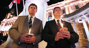 Kingsley Donaldson (left) with his MP brother Jeffrey at a wreath-laying ceremony at Belfast City Hall organised by NI First World War Centenary Committee last year