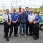 Odhran McKenna and the medical team, Frank Armstrong (divisional training officer); Mark Anderson (clinical support officer); Dr Jonathan Dawson (trauma and prehospital medicine fellow); Karl Bloomer (paramedic); Mark Cochrane (area manager for the Southern Division), and Jill Lamberton (emergency medical technician)