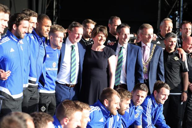 The team are joined by First Minister Arlene Foster