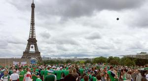 Northern Ireland fans playing football at the Trocadero in Paris