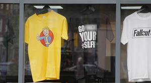 The shirt in the window of the Kopyright store in Belfast reads 'Go F*** Your #Selfie'