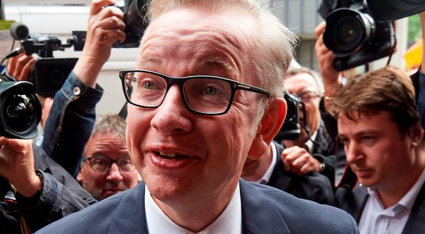 Michael Gove leaves the Policy Exchange in Westminster, where he set out his case for becoming leader of the Conservative Party