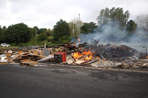 The bonfire at Shaw's Bridge which was set alight on Saturday morning