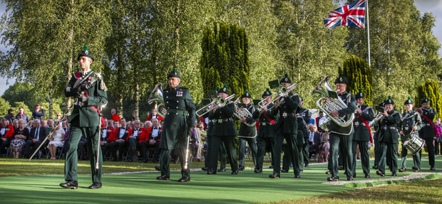 The Royal Irish Regiment performing during the beating of the retreat at the Ulster Tower