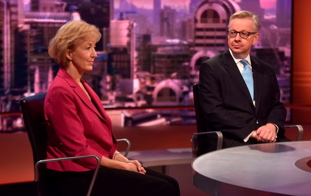 Contenders for the post of Prime Minister, Michael Gove and Andrea Leadsom, on the Andrew Marr show