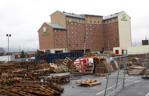 Hundreds of wooden pallets near the Holiday Inn in Hope Street in Belfast in 2016