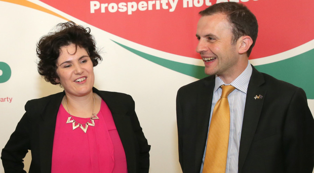 Claire Hanna of the SDLP with Stephen Gethins at the Mac in Belfast yesterday