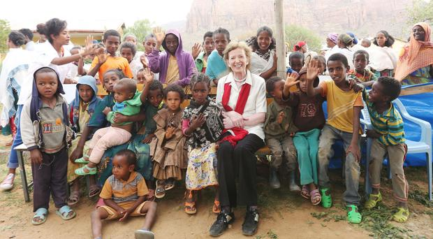 Mary Robinson during a visit to Goal's Community Management of Acute Malnutrition programme in Ethiopia