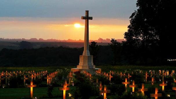War graves are lit at the Thiepval Memorial to the Missing