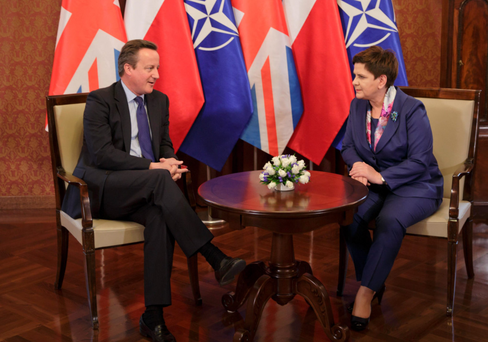 Prime Minister David Cameron holding talks on the fallout from the UK's referendum with the Polish Prime Minister Beata Szydlo during the NATO summit that began in Warsaw yesterday