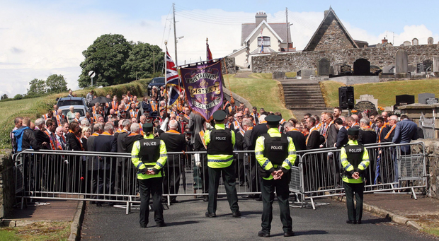 End of the road: police block the parade by Portadown District LOL No1 at Drumcree in 2015.